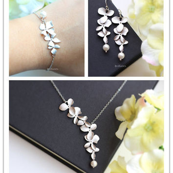 Orchid Flower Necklace Bridesmaid Gift Women Bracelet Jewelry Sets Bridesmaid gift Orchid Flower Earrings Wedding Jewelry