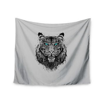 "BarmalisiRTB ""Tiger Gaze"" Black Gray Wall Tapestry"