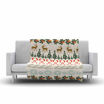 "Famenxt ""Christmas Vibes"" Holiday Pattern Fleece Throw Blanket"