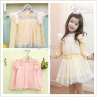 Girls Long Sleeve Joining Together Noble Princess T-shirts/Baby Lace Tops New Fashion Children Lace Tulle T-shirts Kids' Clothes 5pcs/lot