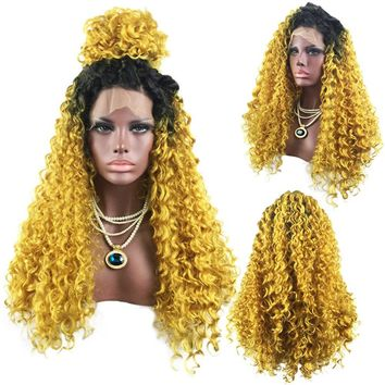 Long Free Part Colormix Shaggy Curly Lace Front Synthetic Wig - Black And Golden