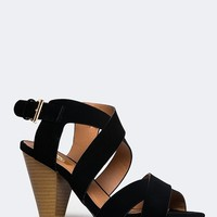 Strappy High Heel Wedge