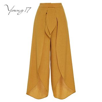 Women Summer Mid-Waist Wide Leg Pants bow Elegant Slit Pants