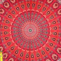 Red Hippy Mandala Tapestry Indian Wall Hanging Bohemian Queen Bedsheet Throw Bedspread Hippie Wall Art Coverlet College Dorm Sofa Home Decor
