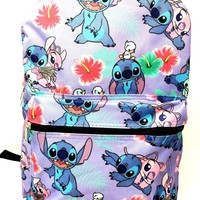 "Disney Lilo and Stitch Allover Print 16"" Girls Large School Backpack-purple"
