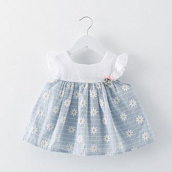 Summer newborn infant baby girl kdis clothes brand design print dress for cute girls baby's clothing striped print dresses dress
