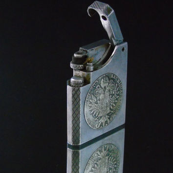 Cigarette Lighter , WW II Era Cast Aluminum, 1780 Maria Theresa Thaler Silver Coin, Large Lift Arm Lighter, Folk Art Trench Art