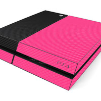 PS4 Skin- Two/Tone - Pink/Black Carbon Fiber