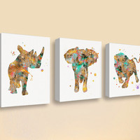 African Animals Canvas, Canvas Print Set, Safari Wall Art, Wildlife Art, Jungle Animal Prints, Boys Room Decor, Childrens Room, Kids Room