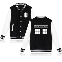 2017 Fashion Men Doctor Who Baseball Jacket Raglan Sleeve Coat Women Print Tracksuit Casual Plus Size 4XL Unisex Style Outwear