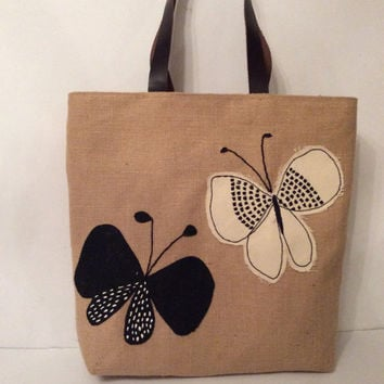 Black white butterflies, summer tote bag,appliqué, embroidered, handmade Jute tote bag,beach tote bag, handmade tote bag, Casual Tote Bag