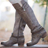 Along For the Ride Embellished Strappy Riding Boot (Taupe)