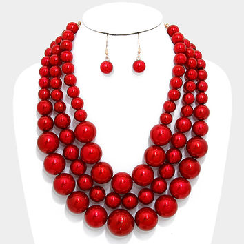 Red & Gold Triple Strand Pearl Necklace