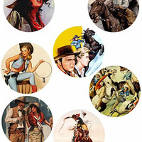"vintage cowboys cowgirls art collage sheet 3"" circles clip art digital download graphics images country western art printables"