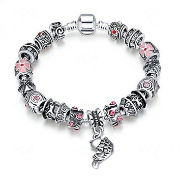 Godyce Owl Starfish Fish Bracelet Crystal Silver Plated Charm Jewelry Gifts Box  79inch