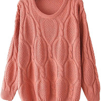 Pink Long Sleeve Mohair Cable Knit Sweater - Sheinside.com