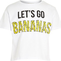 River Island Girl white lets go bananas crop t-shirt