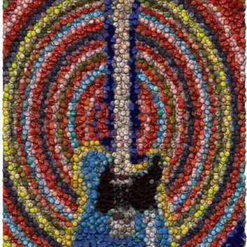 Amazing Electric Guitar Bottlecap mosaic Bar wall print