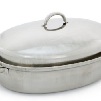 42cm Stainless Steel Oval Roaster Roasting Pan Dish With Domed Lid Rack Pro