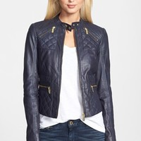 MICHAEL Michael Kors 'Racer' Four Pocket Leather Jacket | Nordstrom