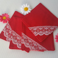 Simple Elegant Red Coasters with Lace, Kitchen Accessories, Elegant Set of 4 Red Square Coasters