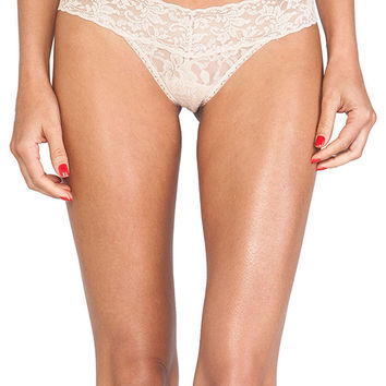Hanky Panky Signature Lace Petite Low Rise Thong in Beige