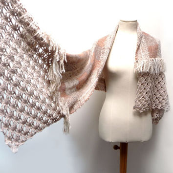 Handwoven and Crochet Shawl Scarf - Cream Beige Brown Wool Stole with Crochet Lace and Flower Brooch
