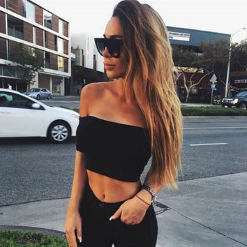 Hot sale fashion sexy off shoulder belly hollow show thin T-shirt