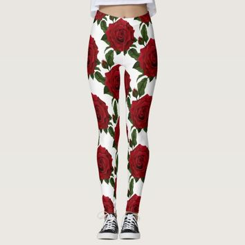 Vintage Red Rose Flower Print Leggings
