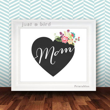 Mothers day card, DIY mother's day gift for mom, last minute gift for mother, chalkboard mothers day, mother's day print,- INSTANT DOWNLOAD