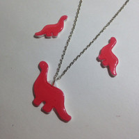 Pink Dinosaur Acrylic Charm 18 Inch Silver Necklace and matching post earrings