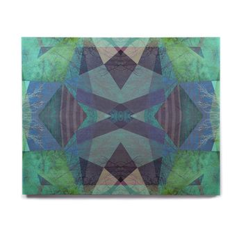 """Pia Schneider """"Turquoise Blue Pattern - 19A"""" Blue Teal Mixed Media Birchwood Wall Art"""