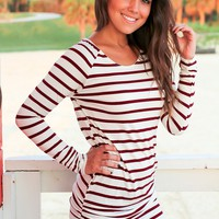 Burgundy and White Striped Ruched Tunic