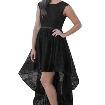 Black Sweetheart Cutout Back Lace Hi-low Dress