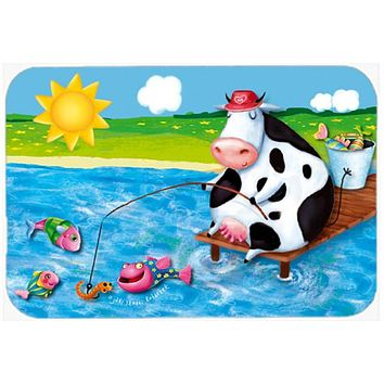 Cow Fishing off of a Pier Glass Cutting Board Large APH0085LCB