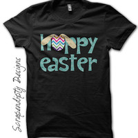 Hoppy Easter Shirt - Boys Easter Outfit / Blue Chevron Tshirt / Girls Toddler Easter Clothes / Newborn Infant Holiday Tee / Happy Easter