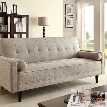 Edana collection sand linen fabric upholstery convertible sleeper sofa with 2 throw pillows