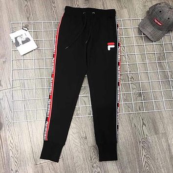 FILA Woman Men Fashion Drawstring Pants Trousers Sweatpants