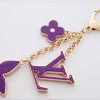 Beady LogoZ Design Bag Tag Keychain Gold & Purple