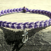 Anchor Charm Anklet, Dark and Light Purple Macrame Hemp, Made to Order