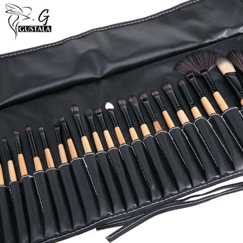 Facial Make Up Brushes 32Pcs Cosmetic Makeup Brushes Set Cosmetic Brush Kit Maquiagem Goat Hair Brush with Leather Cosmetic Bag