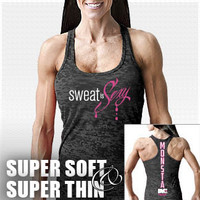 Sweat is Sexy-121 (SuperSoft/Thin): Black Bodybuilding, Powerlifting, Weightlifting and Workout Clothing [W-RCBK-121-BK] - $25.99 : Monsta Clothing Co, Bodybuilding Clothing, Powerlifting Apparel, Weightlifting Shirts, Workout Clothes and MORE