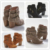 New Women Fashion Brand Sexy Cross Bandage Boots Lady Girls Spring and Autumn Casual High Heel Boots Shoes [9302356298]