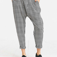 Monochrome Check Print Casual Tapered Pants