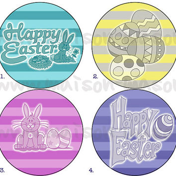 "Happy Easter Round Labels - Mason Jar Stickers 2"" or 2.5"""