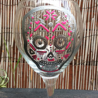 The Samantha- Sugar Skull Wine Glass
