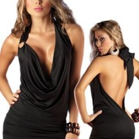 Espiral Womens Deep Plunging Dress - Open Back Halter Style