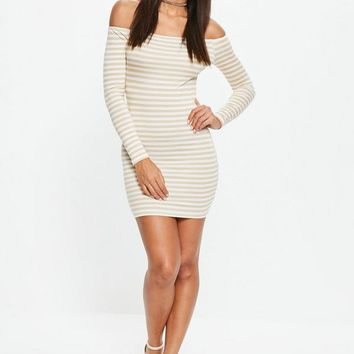 Missguided - White Stripe Bardot Bodycon Mini Dress