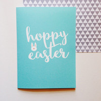Hoppy Easter Card - Hoppy Easter - Bunny Friends Cute Modern Fun Funny - 5x7