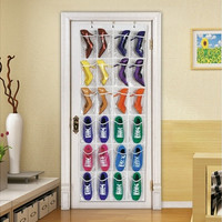 24 Pocket Door Hanging Holder Shoe Shampoo Toys Kitchenware Organizer Storage For Bedroom Bathroom Kitchen